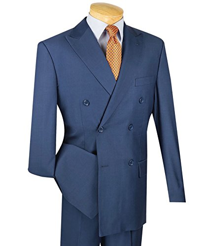 Vinci Men's Premium Solid Double Breasted 6 Button Classic-Fit Suit New [Color Blue | Size: 38 Short/32 (Premium Wool Trousers)