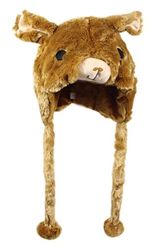 Alpaca Beanie Hat - Bioterti Plush Fun Animal Hats –One Size Cap - 100% Polyester with Fleece Lining (Brown Alpaca)