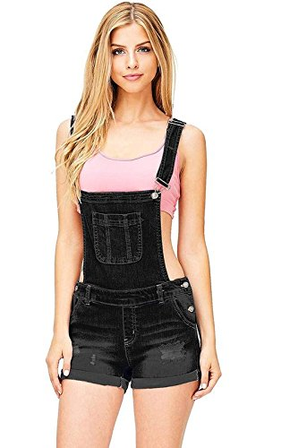 (Wax Women's Juniors Cute Denim Overall Shorts (L, Black))