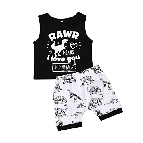 Hstore Baby Clothes Infant Baby Boy Kid Letter Cartoon Dinosaur Printed Tops Vest+Shorts Outfits Casual Set Black