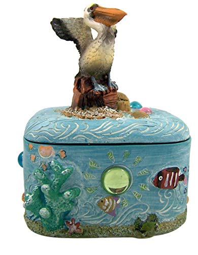 Decorative Pelican and Ocean Trinket Jewelry Box, 3 1/2 Inch