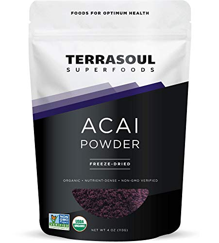 (Terrasoul Superfoods Organic Acai Berry Powder, 4 oz - Freeze-Dried | Antioxidants | Omega Fats)