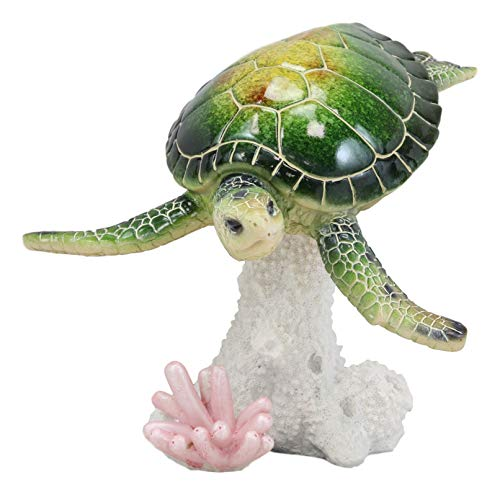 Ebros Gift Large Nautical Ocean Colorful Giant Sea Turtle Swimming by White Corals Statue 8.25 Wide Reptile Tortoise Turtles Decorative Figurine Home and Office Decor Accent