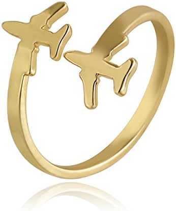 CHUANGYUN Double Airplane Aerospace Flying Dream Adjustable Easy Wear Mini Rings