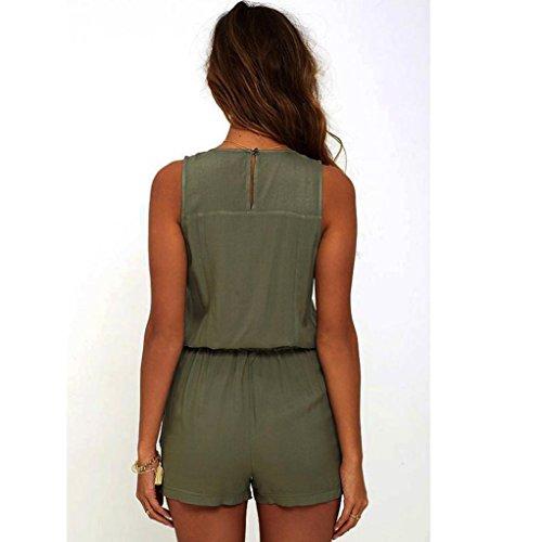 Combinaisons Gilet Unique Pantalon Couleur Taille Parti Jumpsuit D'été Manches Hauts Adeshop Sans Pure Zipper Femmes V Vert Col Body Assouplissement Combinaison HAvwP8q