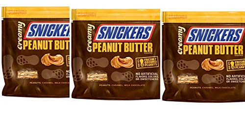 (Snickers Creamy SNICKERS Peanut Butter Square candy Bars, 7.7 Ounce Bag(Pack of 3))
