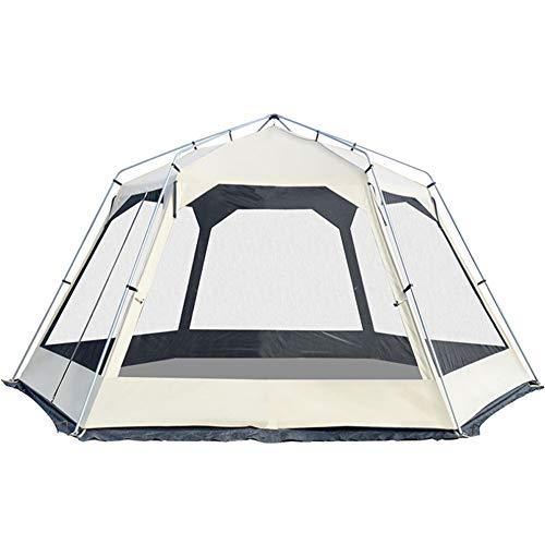 JHHXW Tent 8 or More Outdoor Camping Large Living Room Pergola Canopy Luxury Hexagonal Ventilation Silver Coated Anti-UV pergola