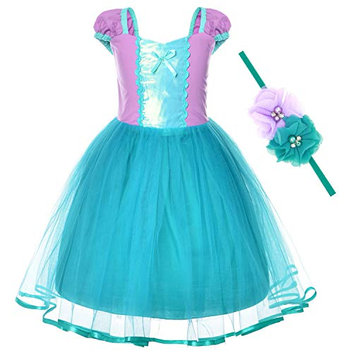 Little Mermaid Princess Ariel Costume for Toddler Girls Dress with Crown(5T 6T) -