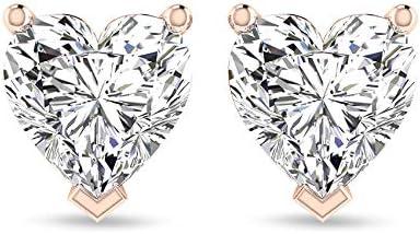Pendientes de diamante certificado IGI en forma de corazón de 0,50 ct, corazón antiguo Love Forever mujer desgaste diario, cumpleaños aniversario, tornillo hacia atrás