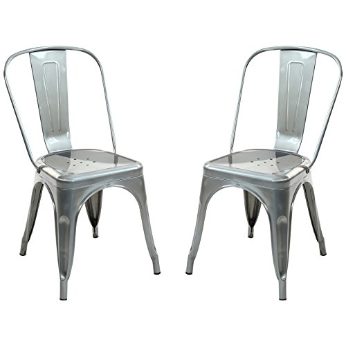 Poly and Bark Trattoria Side Chair in Polished Gunmetal (Set of 2) For Sale
