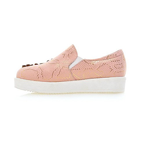 AmoonyFashion Womens Assorted Color Pu Low Heels Round Closed Toe Pull On Pumps-Shoes, Pink, 35