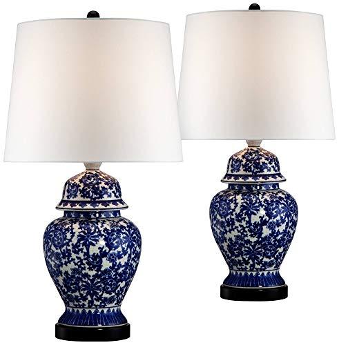 Asian Table Lamps Set of 2 Porcelain Blue Temple Jar Floral White Drum Shade for Living Room Family Bedroom Bedside