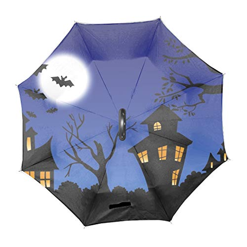 Scary Halloween Night Inverted Umbrella with C-Shaped Handle Windproof Umbrella for Car Rain Outdoor Use