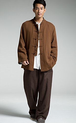 Katuo Chinese Traditional Men's Casual Shirt Blouse Meditation Outwear S-2XL (L, Coffee) by KATUO (Image #4)