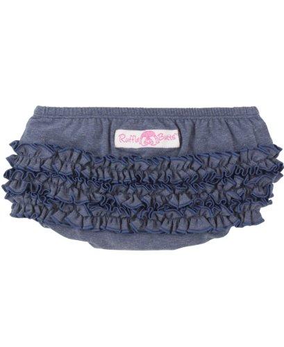 RuffleButts Baby/Toddler Girls Baby Faux Denim Knit 12-18m (Denim Diaper Cover)