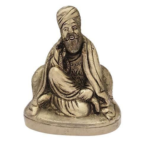 Divya Mantra God Sikh Guru Nanak Dev Ji Idol Sculpture Statue Brass Murti - Puja, Gurudwara, Meditation, Office, Business, Home Decor Gift Collection Item/Product, Money, Good Luck, Prosperity-Yellow