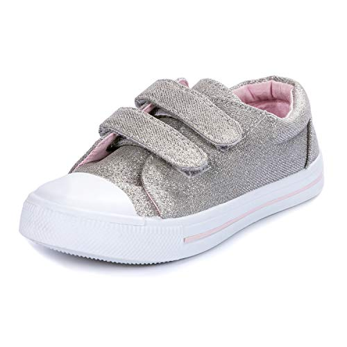 KomForme Toddler Sneakers for Boys and Girls Silver, 10 M US Toddler