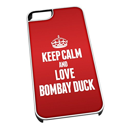 Bianco cover per iPhone 5/5S 0840Red Keep Calm and Love Bombay Duck