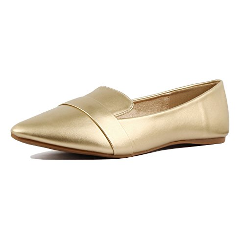 Gold Guilty Shoe Loafer Toe On Women Slip Flats Heart Penny Soft Comfortable Pointy fnqf7HT8