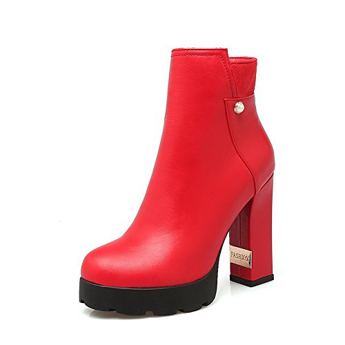 VogueZone009 Women's Round Closed Toe High Heels Low Top Solid Boots, Red, 34