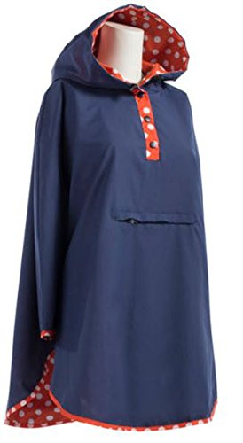 Totes Reversible Rain Poncho Two Looks in One, Womens Size, Style# 0RW2 G18, Navy / Orange & White Dots, One Size