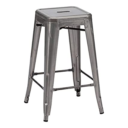 Phenomenal Zuo Modern 106114 Marius Counter Stool Set Of 2 In Gunmetal 100 Powder Coated Steel For Durability 250 Lbs Weight Capacity Dimensions 16 3W X Gamerscity Chair Design For Home Gamerscityorg