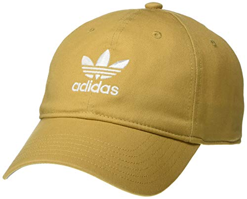 adidas Originals Men's Relaxed Strapback Cap, Raw Sand Brown/White, ONE SIZE (Mens Strapback Hats)