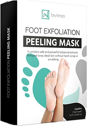 Foot Peel Mask 2 Pack, Peeling Away Calluses and Dead Skin cells, Make Your Feet Baby Soft, Exfoliating Foot Mask, Repair Rough Heels, Get Silky Soft Feet by Lavinso ()