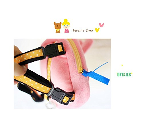 Stock Show Pet Dog Cartoon Backpack Harness with Leash, Puppy Dog Cute Animal Back Pack Saddle Bags with Lead Leash for Dog Outdoor Training Walking, Pink by Stock Show (Image #3)