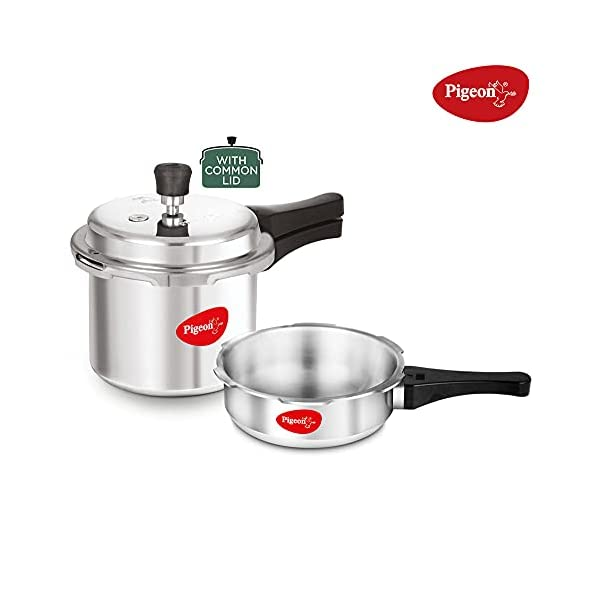 Pigeon-by-Stovekraft-Mini-Combi-Aluminium-Pressure-Cooker-Set-2-and-3-Litres-with-common-lid-12610