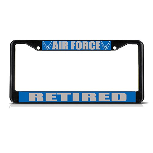 AIR Force Retired Military Black Metal Heavy License Plate Frame Tag Border Perfect for Men Women Car garadge Decor
