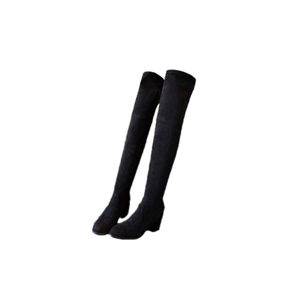 Black suede7.5 Women Chunky Heel Increasing Over The Knee Boots Stretch Scrub Suede Thigh High Boots Comfortable Boots
