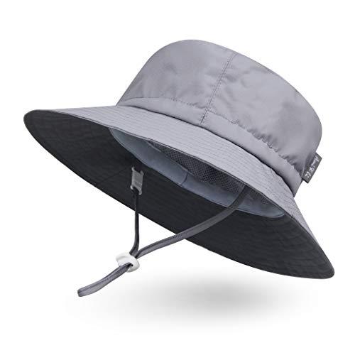 Ami&Li tots Adjustable Outdoor Sun Hat Water-Proof Bucket Boonie Fishing Cap for Baby Toddler Kids UPF 50 - M: Light Gray