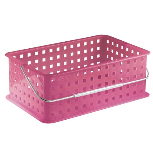 InterDesign Storage Organizer Basket, with Handle for Bathroom, Health and Beauty Products - Medium, Honeysuckle
