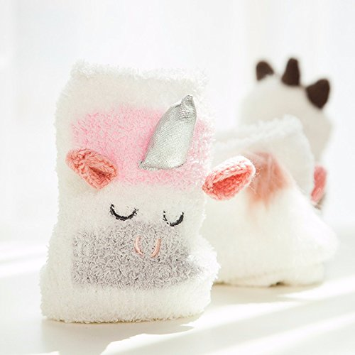 af95018413b Image Unavailable. Image not available for. Color  Fuzzy Unicorn Knee-High  Socks for Baby