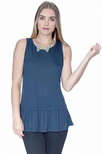 Grayson Shop Ruffle Hem Sleeveless Top Turquoise M (Turquoise Sleeveless Top)