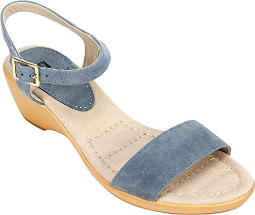 White Mountain Womens Corky Leather Round Toe Casual Ankle Strap Sandals Blue VNHp9