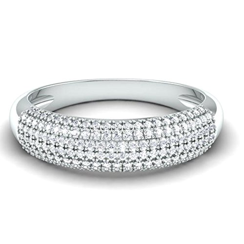 0.50 Carat (ctw) 14K White Gold Round Diamond Ladies Anniversary Wedding Band 1/2 CT (Size 10) by DazzlingRock Collection (Image #2)