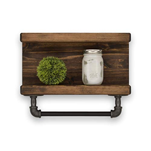 - Handmade Rustic Two Tier Bathroom Shelf with Towel Bar