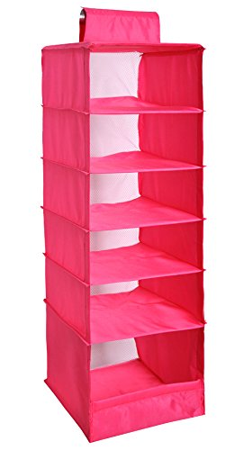 NKTM 6-Shelf Girls Closet Hanging Shelf Shoe Sweater Clothing Organizer for Students Children Pink 600D Oxford Fabric,10.3x11.8x33 inches by NKTM (Image #1)