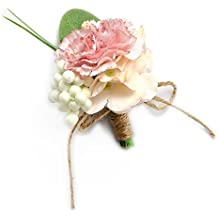 MGStyle Boutonniere Corsage Lapel Pin Brooch For Men - Carnation Flower - Pink - Silk