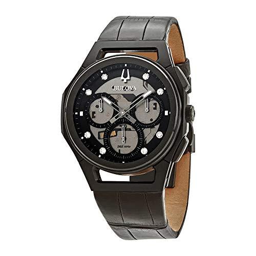 Bulova Men's Curv Chronograph Black Leather Strap Watch 98D152
