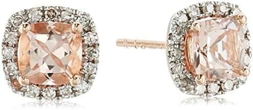10k Gold Morganite Cushion and Diamond Halo Stud Earrings (1/10 cttw, H-I Color, I1-I2 Clarity)