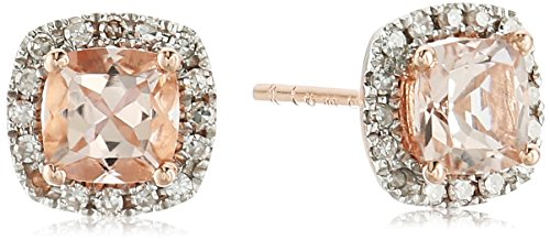 10k Rose Gold Morganite Cushion and Diamond Halo Stud Ear...