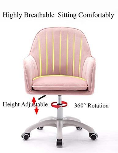 YLMF Ergonomisk kontorsstol justerbar höjd och fast armstöd svängbar kontorsstol med flanellkudde och ryggstöd vita nylonfötter