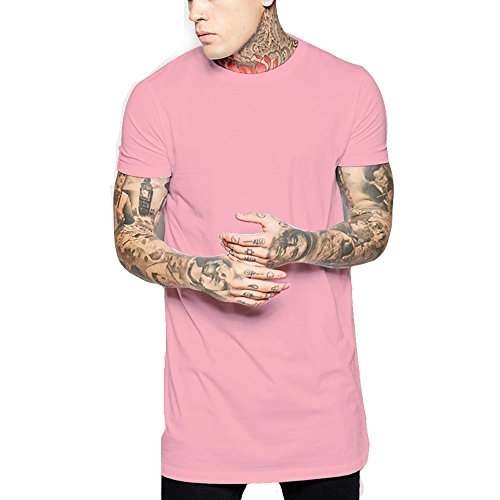 Hipster Men Undershirt T Shirt Casual Longline Hip hop Looes Fit Gym Tee (US-M, Pink) -