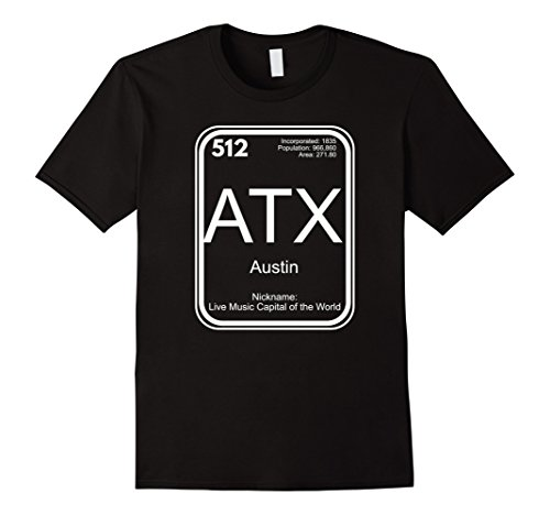 Austin T-Shirt Periodic Table Live Music Capital Gift (Music City Gifts)