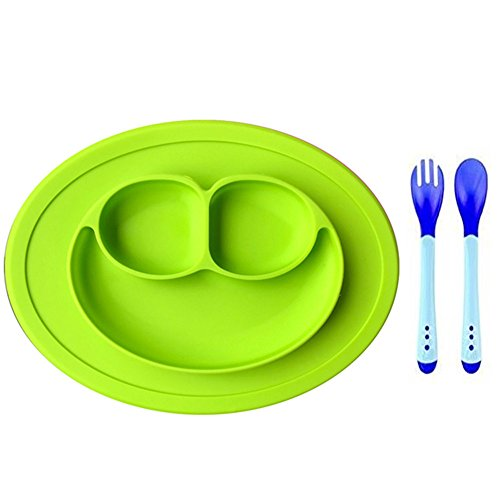 Baby Silicone Food Placemat,Cheaboom Baby Silicone Food Tray Babies Placemat Plate Suction Placemat with Hot Safety Spoons and Fork for Kids,Toddlers,Babies (Green)