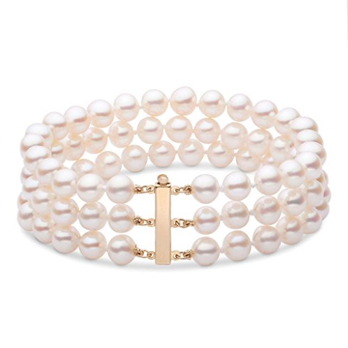6.5-7.0 mm White Freshwater AA+ Cultured Pearl Triple-Strand Bracelet - 7 inch - 14K Yellow Gold