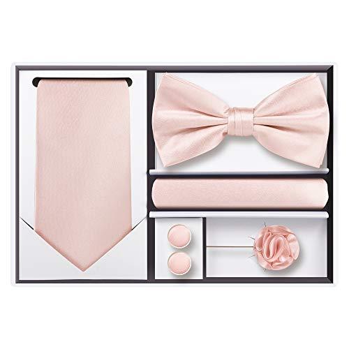 (5pcs Tie set in a gift box : Tie sets : Solid color Neck tie,Satin Bow tie,Pocket Square, Lapel, Cuffs link (Blush)
